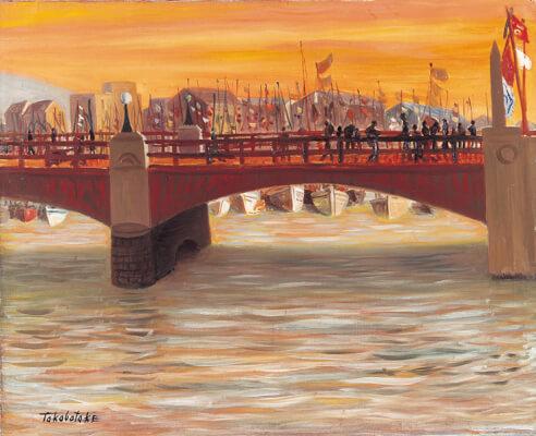 巨匠とパレット展ー高畠達四郎が釧路滞在時に描いたと考えられる作品。夕日で赤く染まる幣舞橋の上は多くの人々が行き交い、海には、所狭しと船が停泊しており、当時の釧路の活況を示す資料としても重要な作品です。